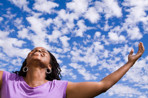 woman looking to sky