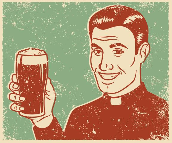 Retro Screen Print Priest with Beer
