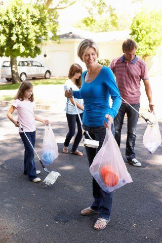 Family Picking Up Litter