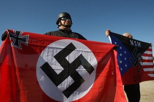 Members Of National Socialist Movement Hold Anti-Immigration Rally