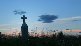 Cross Shaped Tombstone at sunset