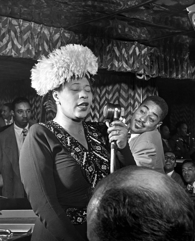 Photo of Ella FITZGERALD and Dizzy GILLESPIE and Ray BROWN