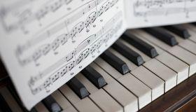 Close up sheet music over piano keys