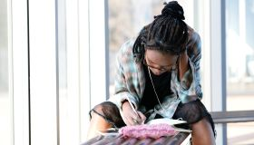 Young writer at work