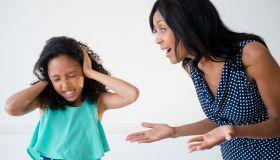 Daughter ignoring yelling mother