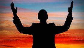 Arms raised silhouette