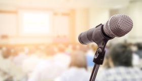 Close-Up Of Microphone In Conference