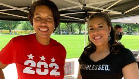 Mayor Muriel Bowser and Ronnette Rollins at Black Voters Matter Freedom Ride 2021 DC