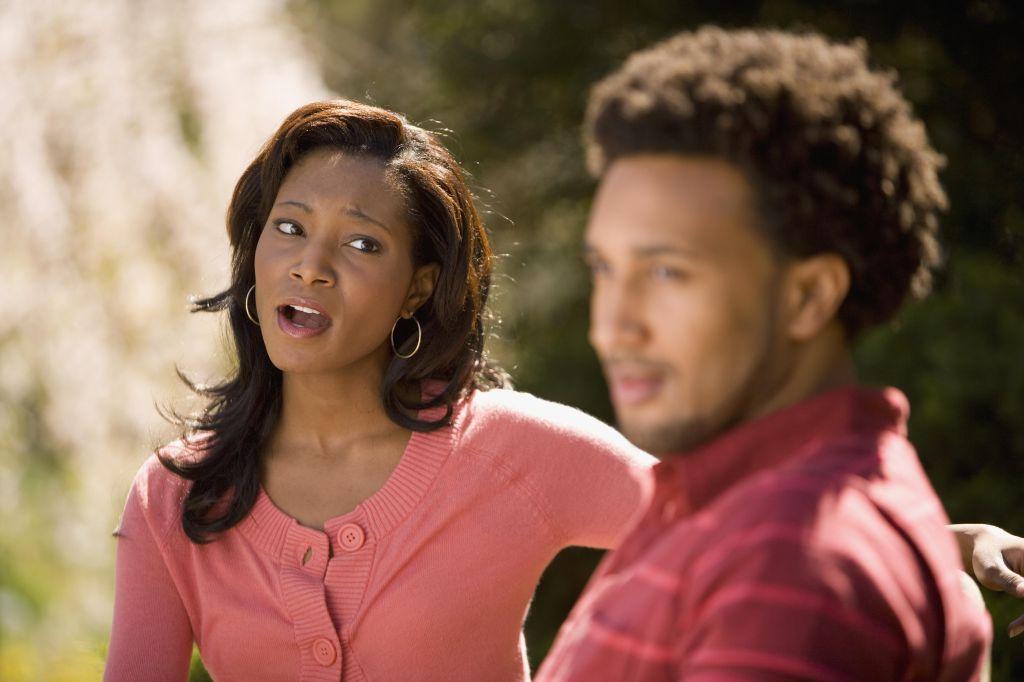 African American woman yelling at boyfriend